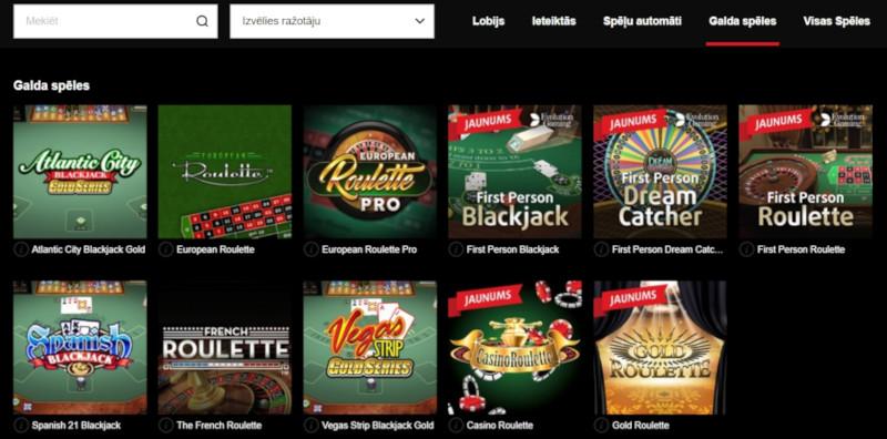 11.lv kazino spēļu sadaļa
