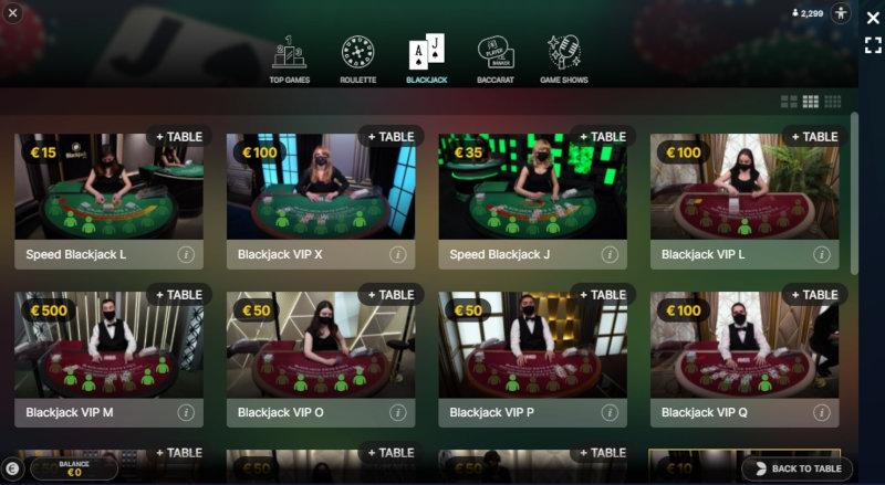 Viensviens live kazino sadaļa